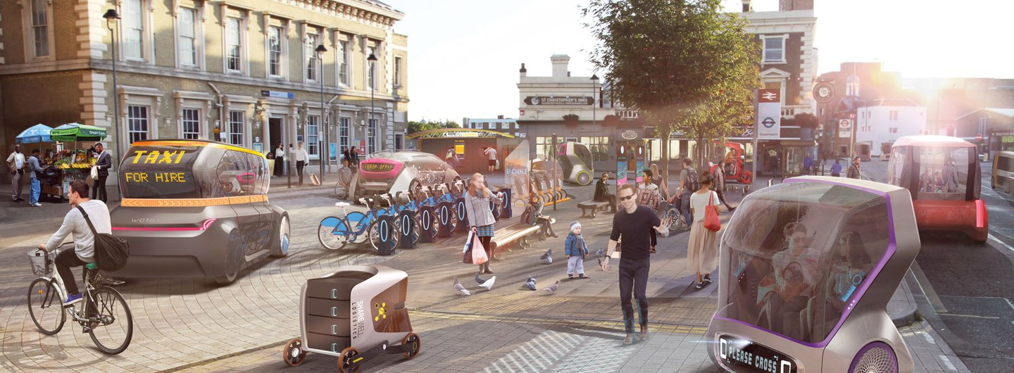 Driverless Futures: A future interchange based around a variety of driverless vehicles by designers and researchers from The Helen Hamlyn Centre for Design and the Intelligent Mobility Design Centre.
