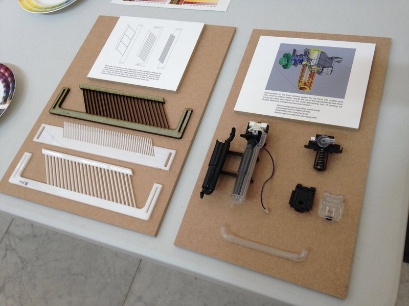Display showing replacement part prototypes