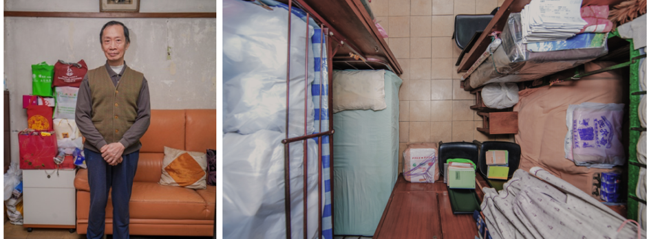 Project participant in his home in Hong Kong alongside an overhead shot of his apartment