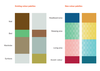 Existing care home colour palettes and new colour palettes as proposed by the project research and used on the bed design. Each describes four areas in the bed space.