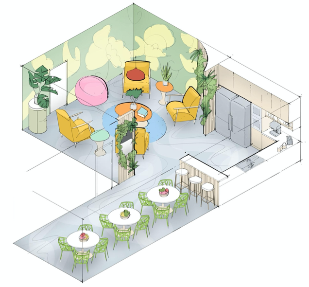 Proposition for a new kitchen space with bright colours and materials providing a joyful and relaxed ambiance