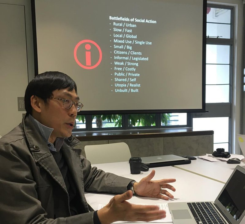 H Koon Wee presenting his new publication The Social Imperative: Architecture and the City in China to MA City Design Students in Hong Kong
